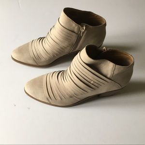 LUCKY BRAND suede cutout booties